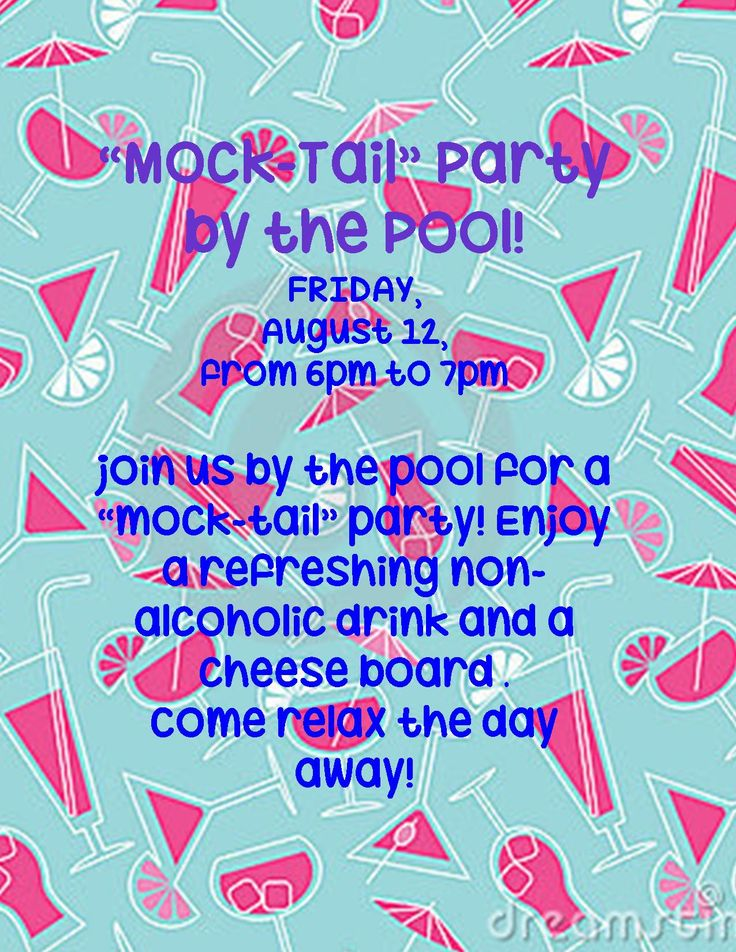 Mock Tails By The Pool This Friday Marketing Ideasapartmentspools