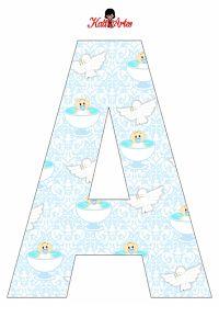 Alfabeto de Angelitos Bebés para Bautismo.