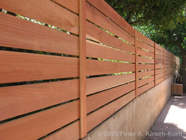 Modern Horizontal Wood Fence & Gate (Wall Extension) - Hollywood, CA--all pressure treated wood framing with hand selected clear redwood fence boards.