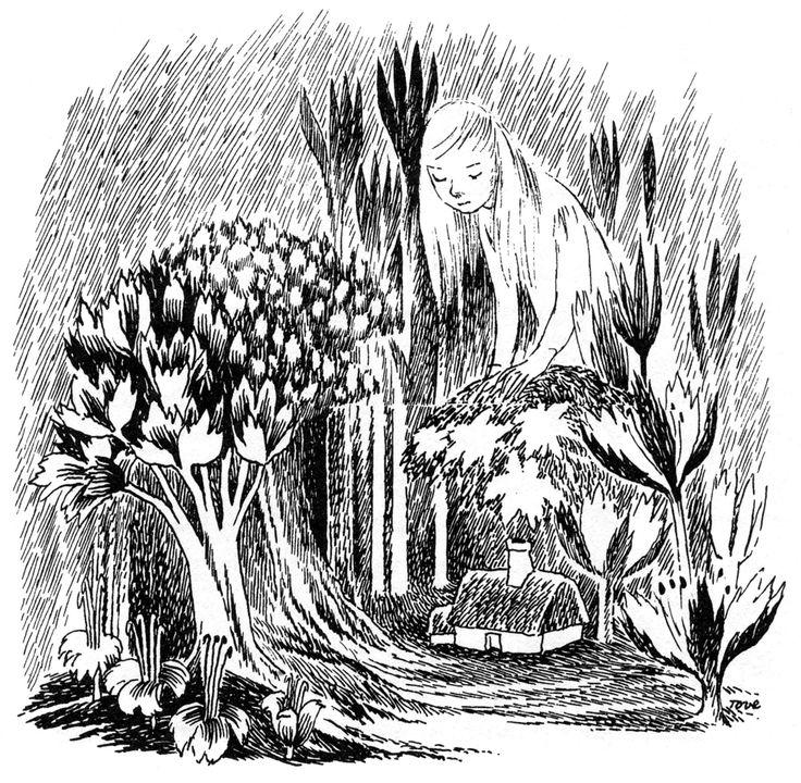 """Tove Jansson (Finlande 1914 - 2001). Illustration pour """"Alice au pays des merveilles"""", de Lewis Caroll"""