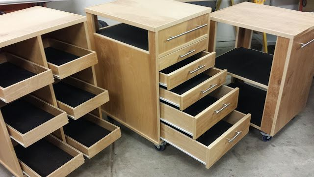 Rolling Shop Carts. These work great for organization and in/out feed for the table saw and miter saw support. I wish I would have made these sooner!