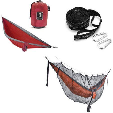 Tribe Provisions Hammock Start Kit: Hammock, Tree Straps and Mosquito Net, Red