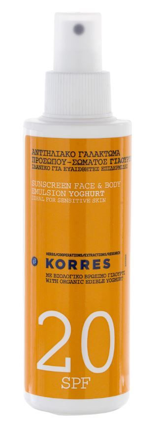 Korres Yoghurt Sunscreen Face & Body Emulsion SPF20 - Ideal for sensitive and fair complexions, this spray provides protection from UVA and UVB radiation and has soothing properties. #korres #summer #sun #holiday #travel #suncare