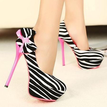 Fashion Round Closed Toe Zebra Print Stiletto High Heels Rose Suede Pumps