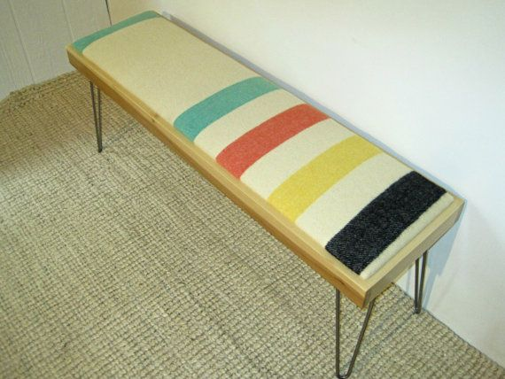 Modern Hairpin Leg Bench with Vintage Wool by PaperCorgiShop, $175.00