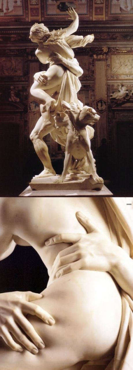 Hades and the abduction of Persephone in marble. Human race making some art.