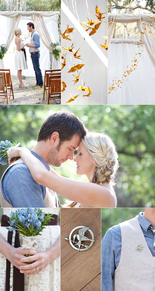 Fall Wedding Ideas - Pretty Hunger Games Inspired Gold and Blue Rustic Wedding theme