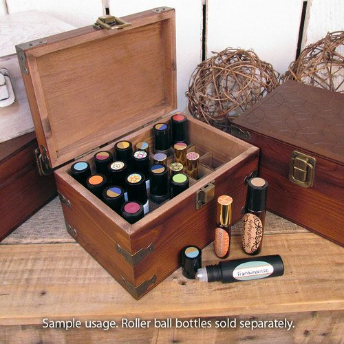 Roll-on bottle wooden storage box from Rivertree Life.