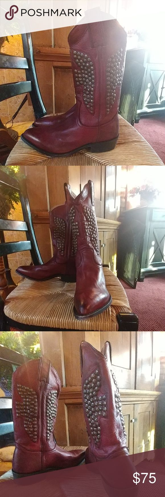 Fry boots Dark red cowboy boot, brand new, worn maybe 2x, super soft leather, comfortable just not my style Frye Shoes Ankle Boots & Booties
