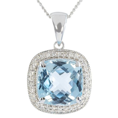 9ct White Gold Antique Checkerboard Cut Blue Topaz  Diamond Pendant only $248 - purejewels.com.au