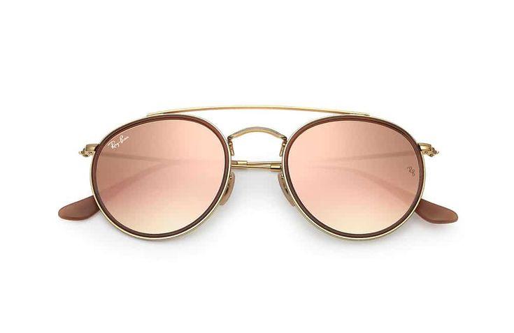 Lunettes de soleil Ray-Ban Round double bridge en or et verres cuivre flash #rayban #lunettes #round