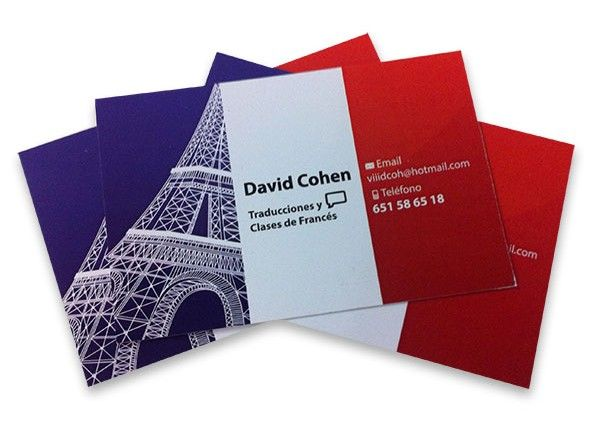 Tarjetas de visita de David Cohen | Photo @ Valencia Serigrafía. http://www.valenciaserigrafia.com/portfolios/tarjeta-de-visita-traducciones-y-clases-de-frances/