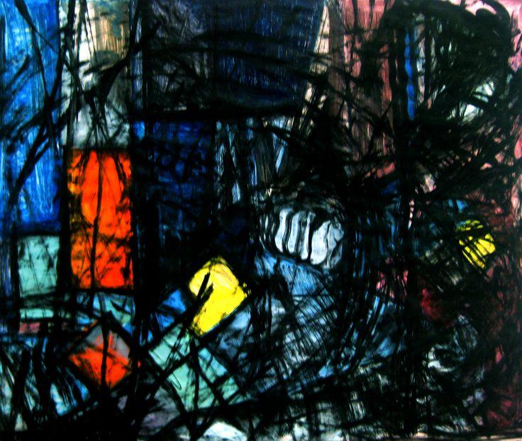 Le Combat avec le Démon. Acrylique et encre sur papier, 60X80 cm. 2011.