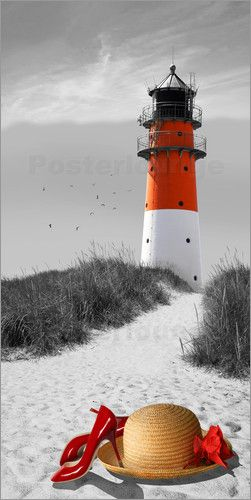Poster der leuchtturm als colourkey red accentswhite printslighthousecolour