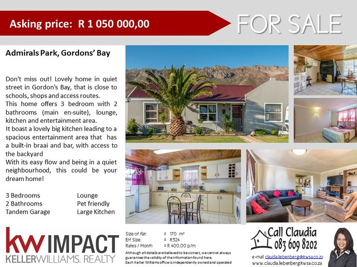 3Bed Home for Sale in Admirals' Park, Gordon's Bay. Don't Delay, call me today!