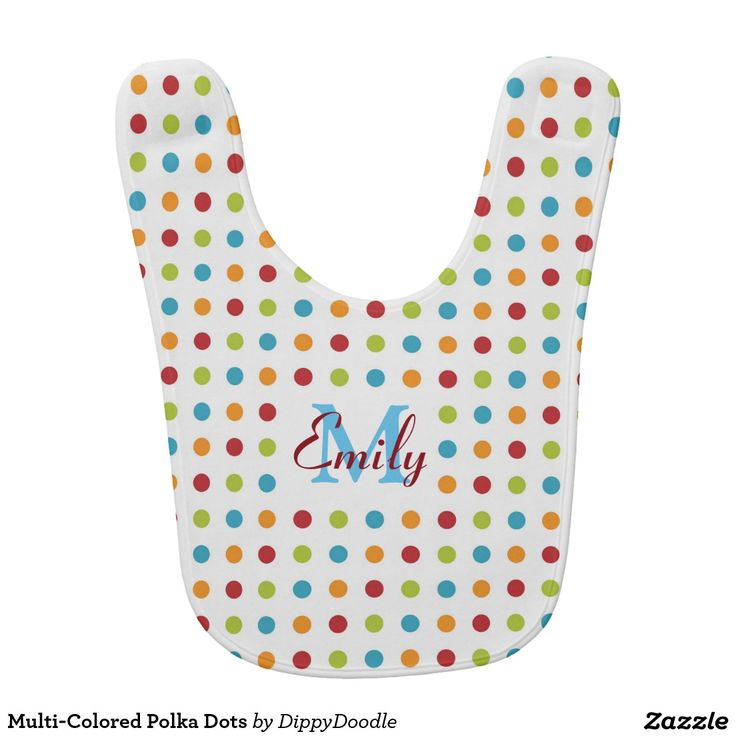 50 best baby clothes and gifts images on pinterest toddler gifts multi colored polka dots colorful personalized baby bib negle Images