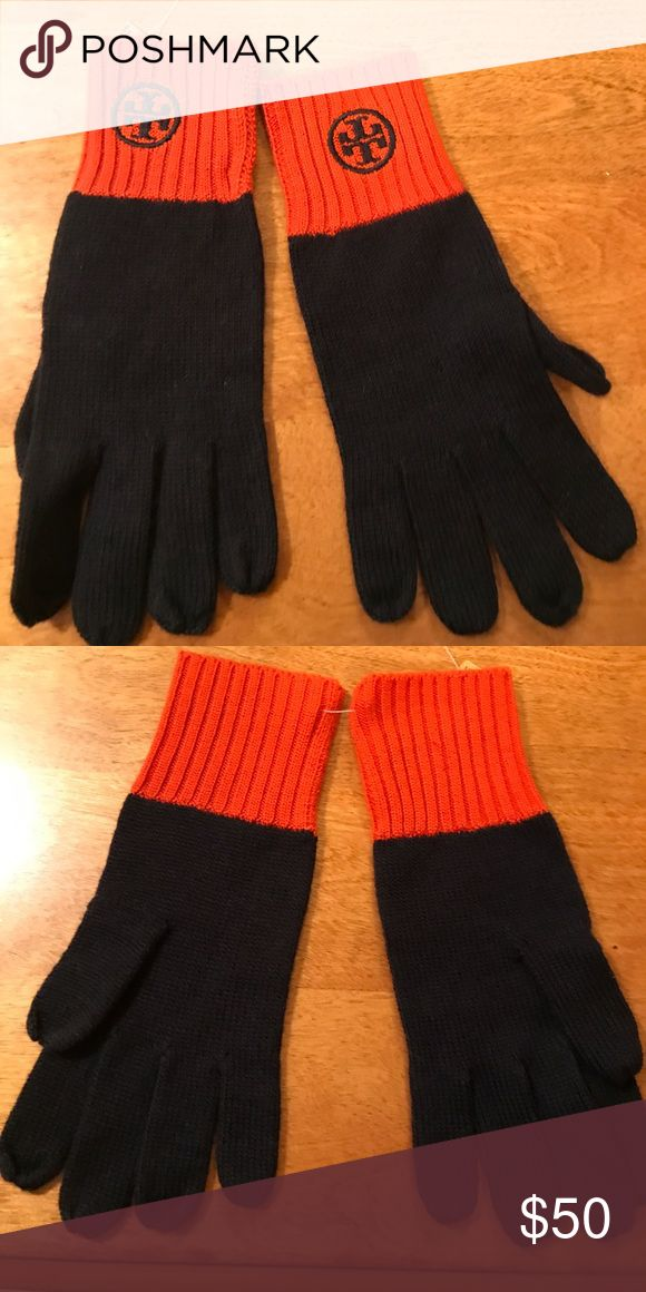 New authentic Tory Burch gloves. New authentic Tory Burch knit gloves. Color orange and navy. One size. Please do not make low offers. Please do not ask me to email or text you. I don't privately communicate. All offers are to be made via Poshmark. Thank you. Tory Burch Accessories Gloves & Mittens