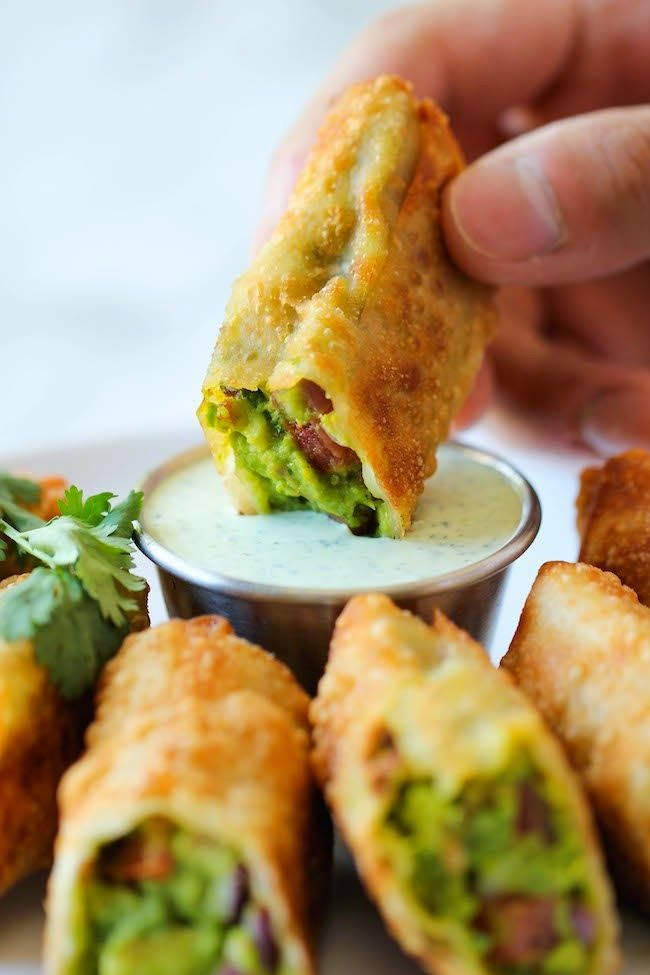 Avocado Egg Rolls With Cilantro Dipping Sauce - Low Fat Low Cholesterol