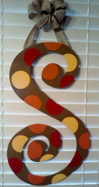 Fall Initial Door Hanger. $28.00, via Etsy.
