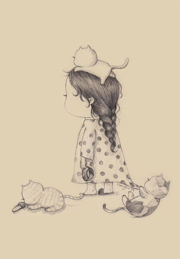 Девочка с котенком картинки карандашом
