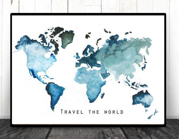 Weltkarte Aquarell Erde Bild Druck Wanddeko Travel The