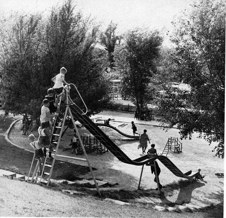 Donaupark, Vienna, Austria. This playground is probably not there any more but what an amazing slide! The image looks like it's from the early 1960s or maybe late 1950s to me. Pinned by Alec from http://childsplaymusic.com.au/