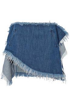 Marques' Almeida Asymmetric frayed denim mini skirt | NET-A-PORTER