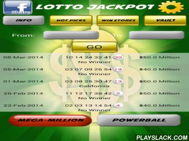 USA Lotto Jackpot  Android App - playslack.com , Download USA Lotto Jackpot and improve your Mega Millions and Power Ball winning chances.Lotto Jackpot provides you with Mega Millions and Power Ball latest and historical winning information, lets you pick your numbers and see how many times those numbers have been played individually or together, gives the the store names and addresses where the jackpot was won, lets you save the numbers you play and sends you email alerts when those…