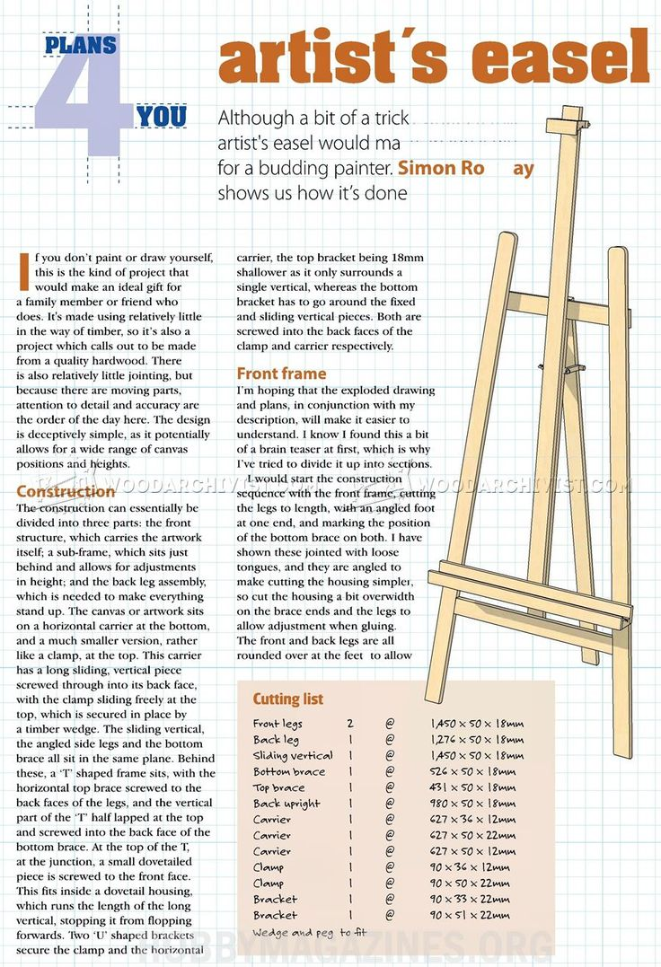 #54 Artist Easel Plans - Woodworking Plans Woodworking