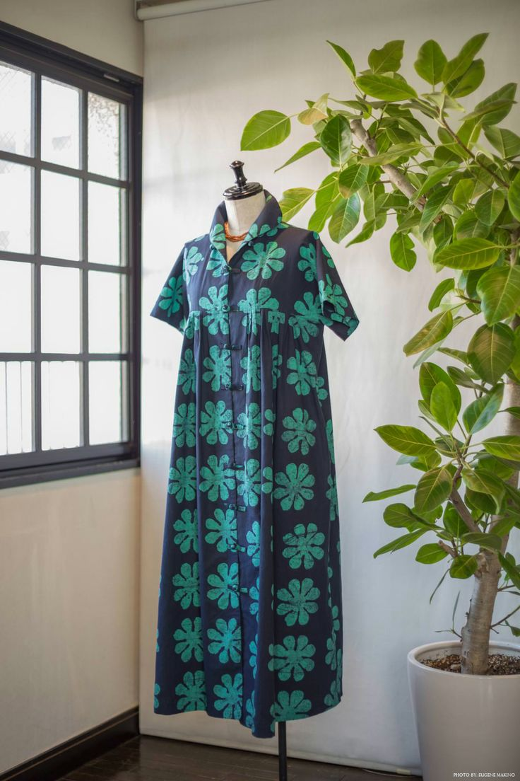 GRAPE Motomachi / Batik Print Dress #batik #dress #chinacollar #green #flowers #grapemotomachi
