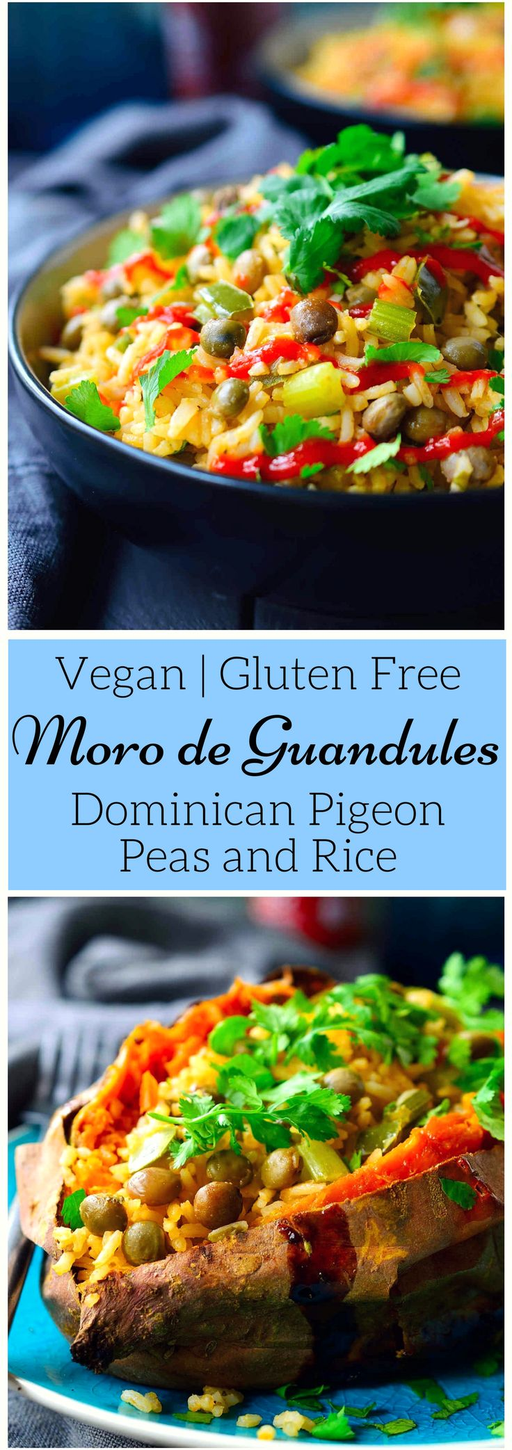 This recipe for moro de guandules is a dish from the Dominican Republic featuring pigeon peas and rice cooked with vegetables in a coconut milk broth. It's quick to prepare in just 30 minutes and you only need one pot. It's great served as a side dish, or you can make it a vegan or vegetarian main dish by serving it stuffed inside a roasted sweet potato!