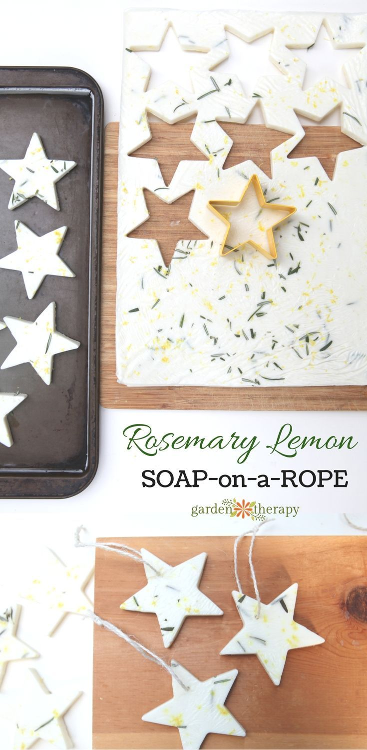 DIY Rosemary Lemon Soap on a Rope! Two kinds of soap come out of this project: soap stars and bars. Turn the stars into soap-on-a-rope and give them, and the bars, as gifts.