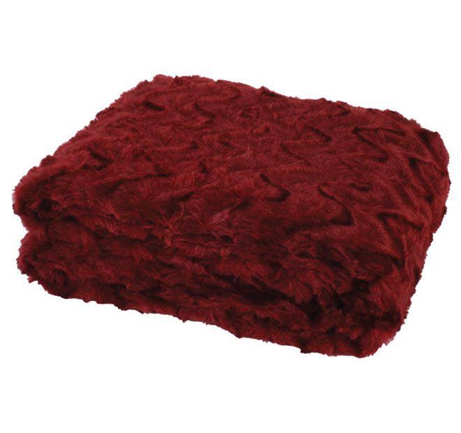 Paxton and Wiggin Chevron Fur 127x152cm Throw Sangria