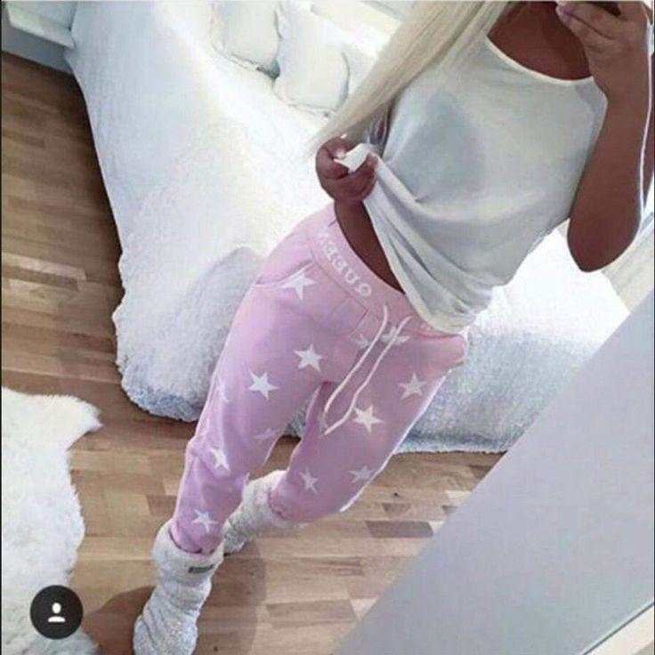 Womens Printed Star Casual Long Cotton Warm Sweatpants