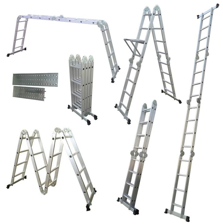 Multi Purpose Ladder 4.7M Aluminium Folding Scaffold 2 Plates 14 in 1 Function