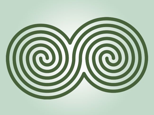 The double spiral is seen as a symbol of balance.