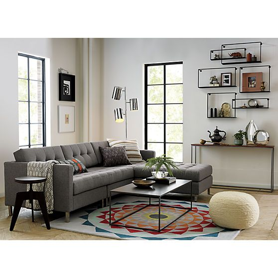 "ditto grey sectional | CB2 - left, right, left, right left. No matter how many times you rearrange your room, no matter how many times you move, our ingenious Ditto Sectional will always serve you right (or left, depending on your floor plan). Flip the ""chaise"" position to either side by simply moving the anchoring ottoman and cushions to the left or right."