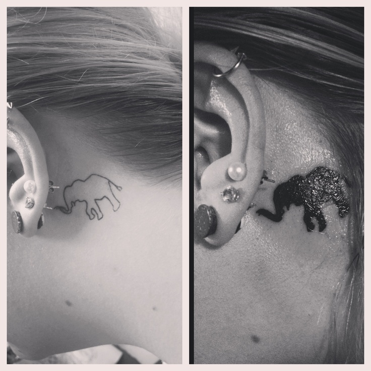 Small elephant tattoothis size, but on my neck