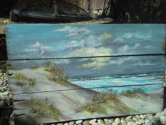 Original ocean beach seascape painting on reclaimed wood for Peinture shabby chic