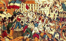 """«Vivre libre en travaillant, ou mourir en combattant». Révolte des Canuts. - Soulèvement des tisserands en soie de Lyon (1831 et 1834). Dans le système de la """"fabrique"""" lyonnaise, la concentration capitaliste, 10 000 petits ateliers, employant 40 000 ouvriers, appartiennent à des tisserands, en principe indépendants, mais en réalité sous la coupe de marchands-fabricants ou """"soyeux"""" qui distribuent le travail et en fixent le tarif."""