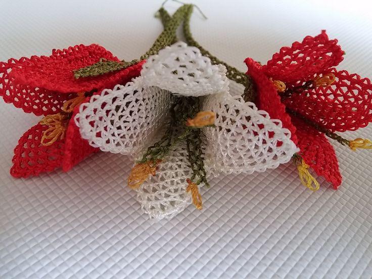 iğne oyaları lale çiçeği oyası yapımı