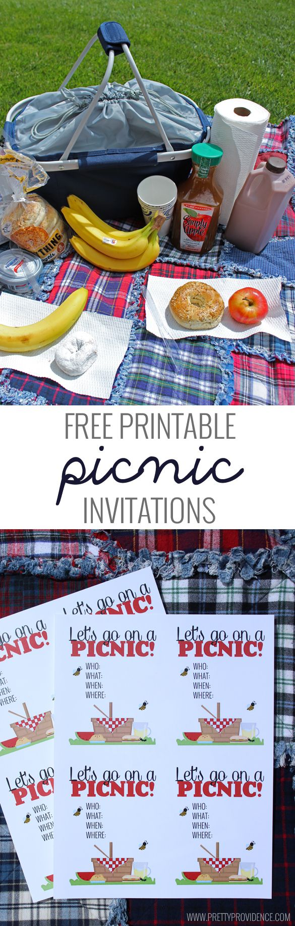 """I love this """"surprise"""" picnic idea! The free printable picnic invites are super cute too. Great way to get together with friends with minimal cost and mess! #celebratefamilyvalues #ad"""