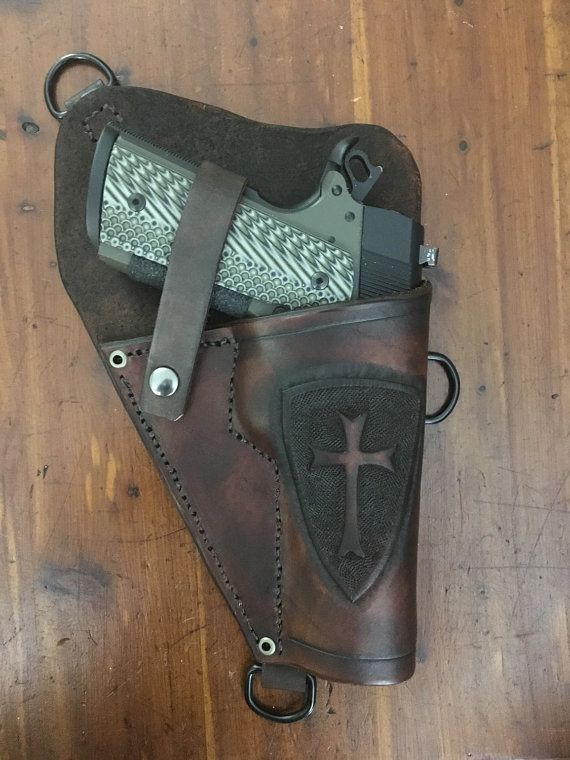 Custom Leather Shoulder holster for 1911 pistol. by CobbHomestead