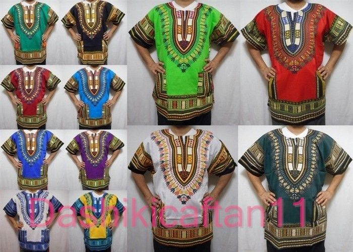 African Dashiki Vintage Hippie Men Shirt Women's Beach Wear Tribal Rasta Blouse  #Handmade #DashikiwithFronttwopockets