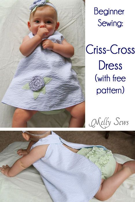 Easy to sew Criss-Cross Dress with free pattern. Adorable and a great first sewing project.