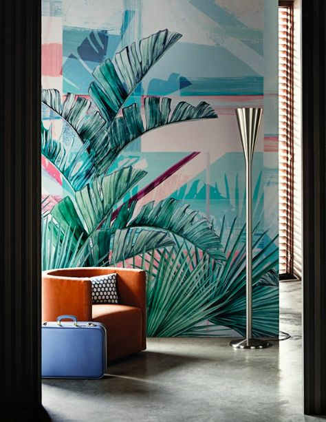 The Top 10 Interior design trends for 2017 | The Maker Place, including art deco style design. I love this bold and fun wall mural of Miami style palm trees with a great deco style armchair.
