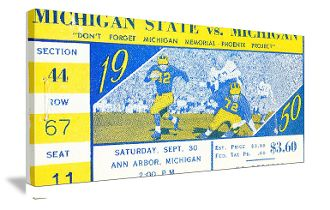 Michigan football gifts made from authentic vintage Michigan football tickets. The best football gifts are at http://www.shop.47straightposters.com/1950-Michigan-State-vs-Michigan-Football-Ticket-Art-50-MICH.htm