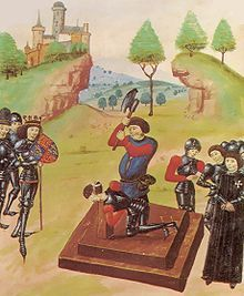 The execution of the Duke of Somerset, watched by the victorious Edward IV, after the Battle of Tewksbury, 1471. http://simon-rose.com/books/the-sorcerers-letterbox/historical-background/