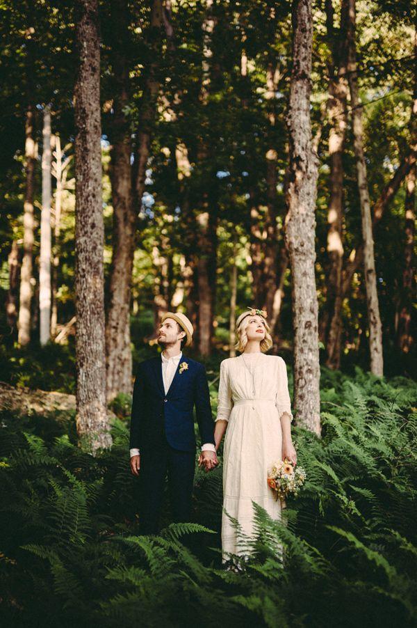 Woodland bride and groom - photo by JBM Weddings http://ruffledblog.com/handsome-hollow-wedding-ideas