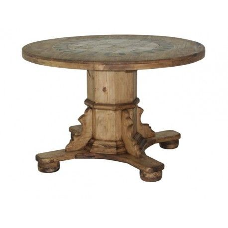 Rustic Dining Tables :  Solid Wood, Rustic Round Table With Heavy Duty Base.  Incredible Stone Top With A Texas Star! Look At The Lines On This Bad Boy. Awesome Ideas